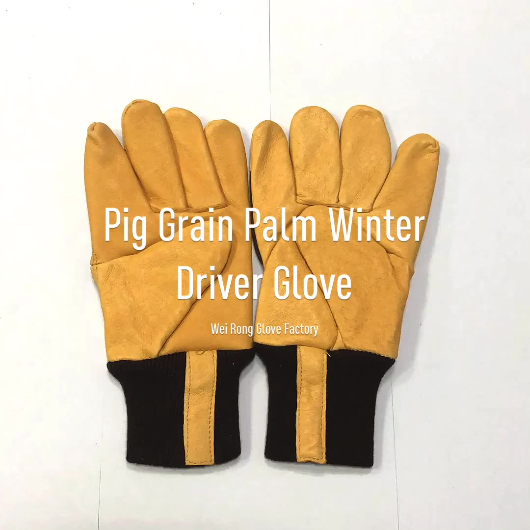 Top pigskin leather high quality low visibility working driving gloves