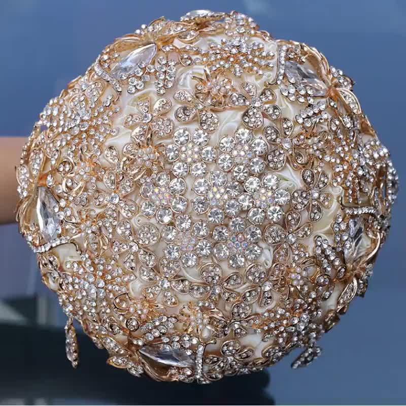 Bó Hoa Cô Dâu Với Vàng Sang Trọng Kim Cương Nhân Tạo Tăng Bó Hoa Với Satin Jeweled Bouquet Ném