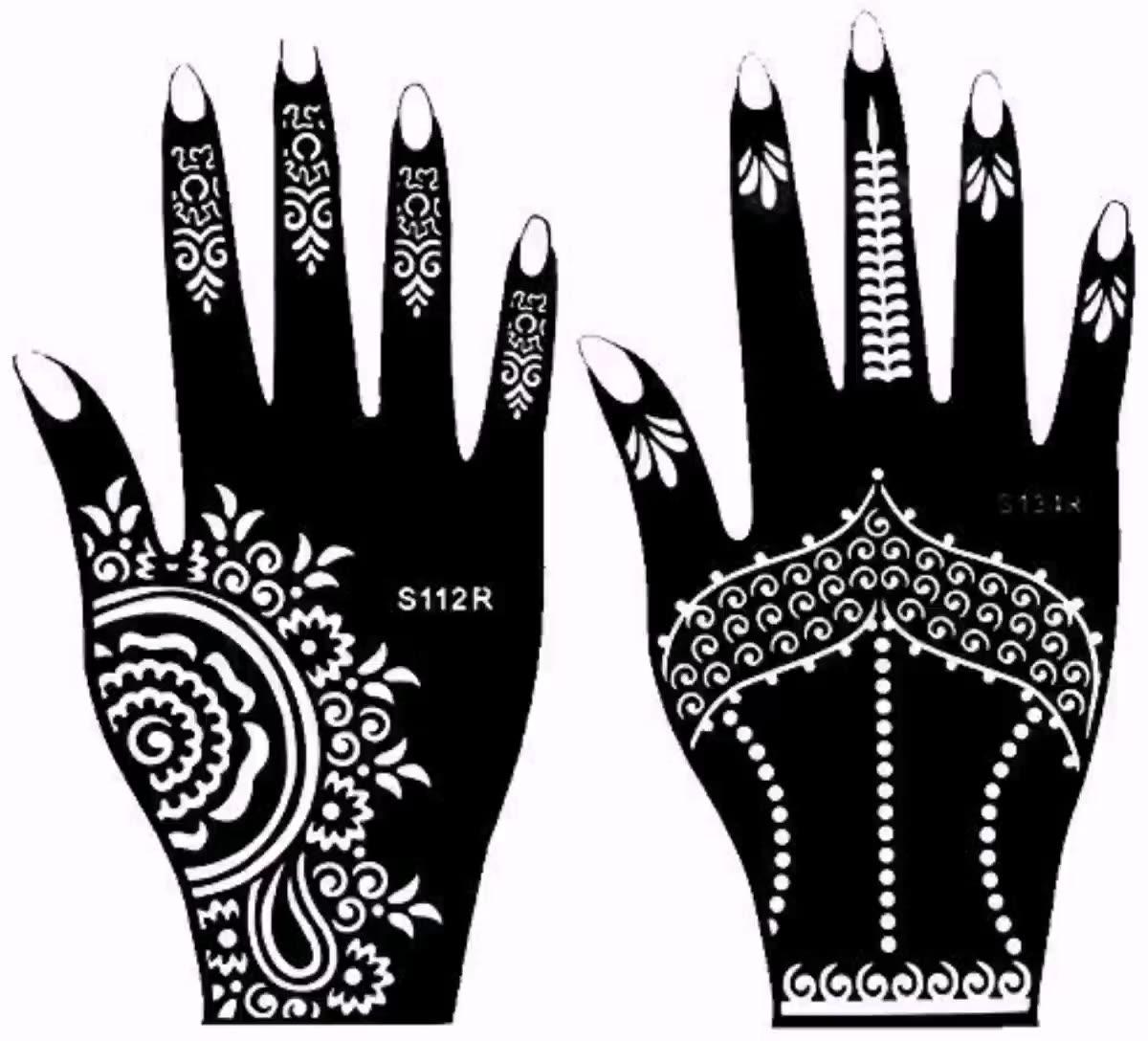 OEM Henna Stencils Tatuagem Para Atacado, Lindo das Mulheres Sexy Body Art Etiqueta Do Tatuagem de Henna Mãos Renda Preta