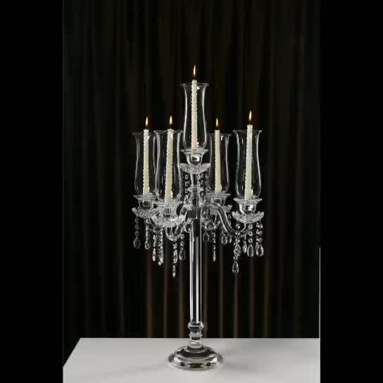 European style tall crystal glass hurricane candelabra wedding centerpieces
