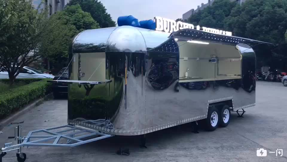 New Airstreams Hot dogs Food cart Stainless Steel Mobile Ice Cream Food Truck