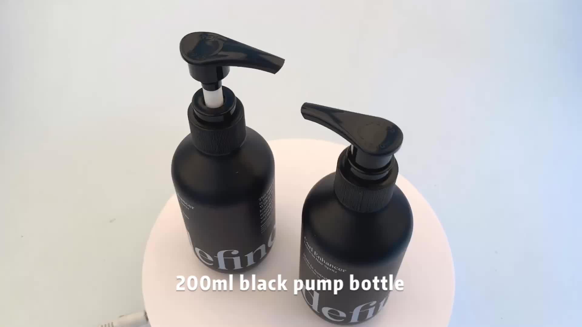 Leere 200ml kunststoff matt schwarz lotion flasche mit pumpe
