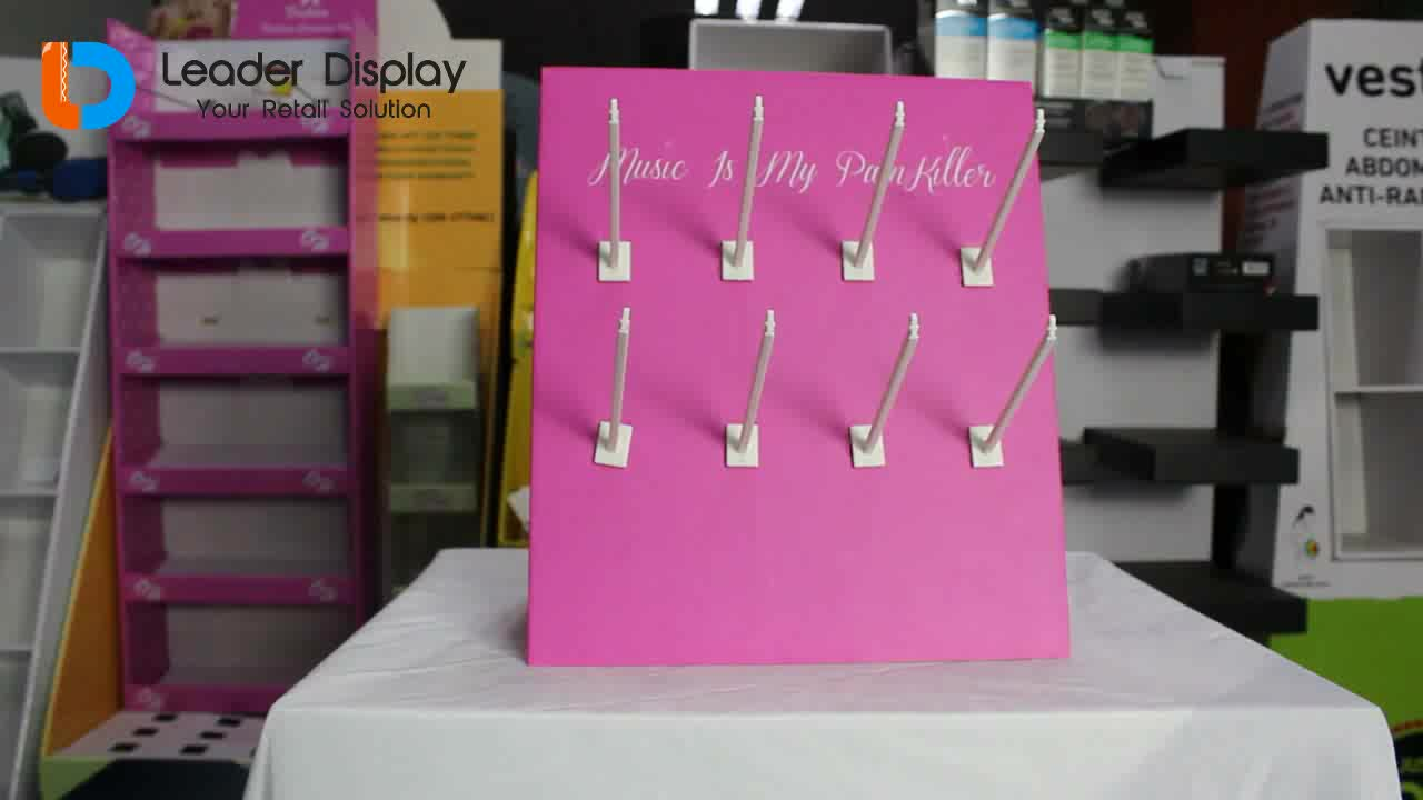 point of sale cardboard jewelry cosmetic ice cream perfume hooks pegboard counter top display unit