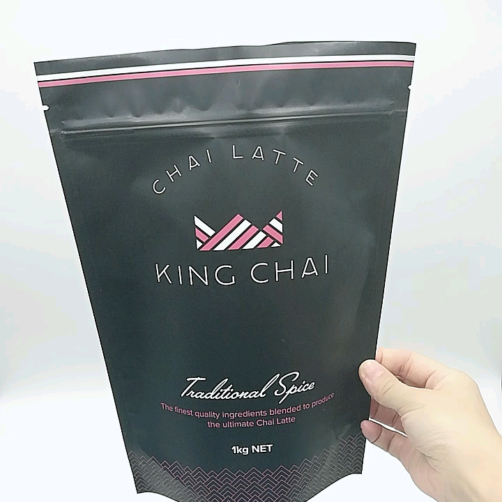 Custom Matt Black Food Grade Vacuum Seal Stand Up Zip Tea Bag