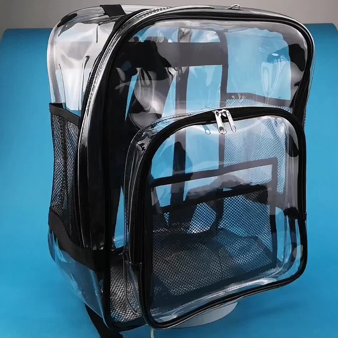 Custom Multi-pockets Outdoor Waterproof School Daypack Clear Transparent PVC Backpack