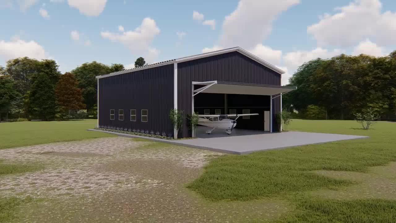Modüler Ucuz Prefabrik Endüstriyel Kolay Montaj Çelik Yapı Küçük Uçak Uçak Kiti Hangar