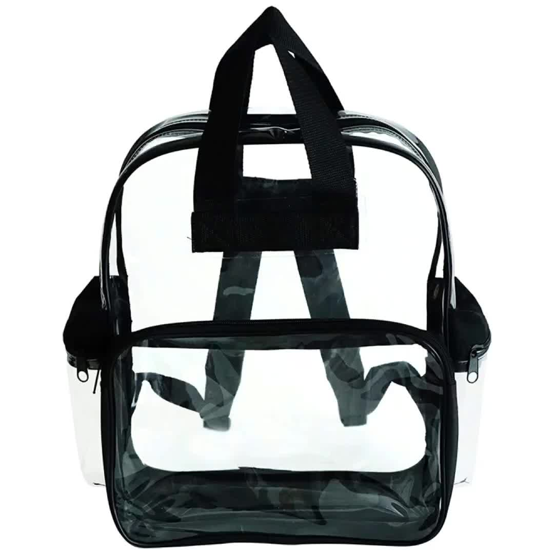 Transparent PVC School Backpack Security All Clear Stadium Safety Travel Rucksack with Black Trim