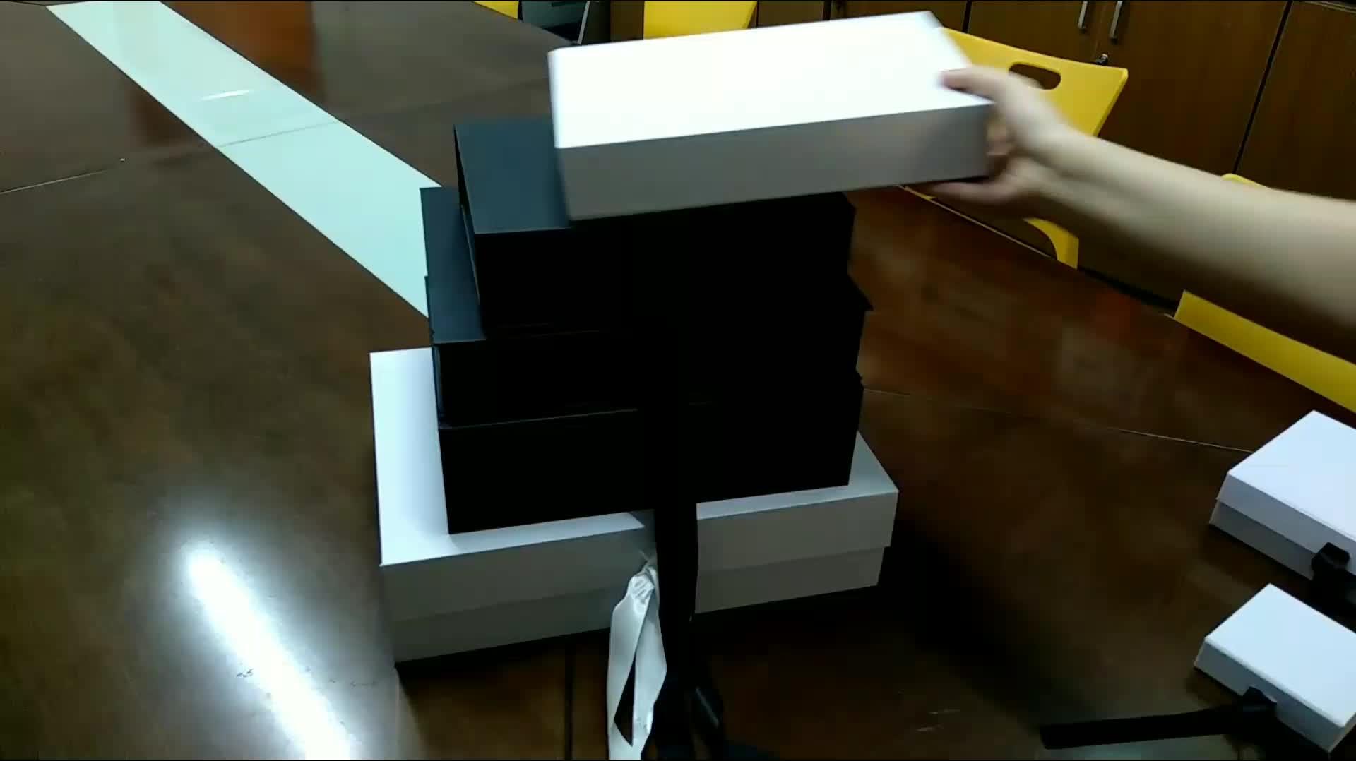 Мода логотип пользовательские печати заводская цена белая бумажная коробка пакет с лентой