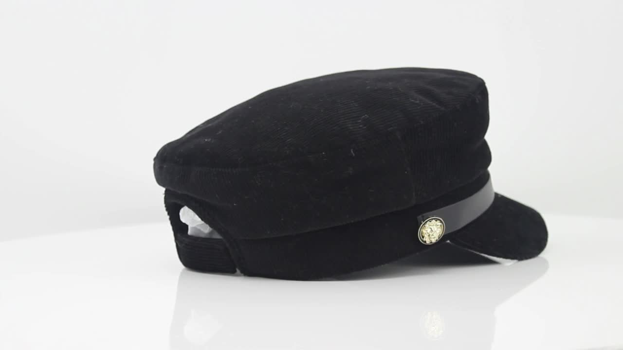 Custom cotton corduroy fabric quilted lining military caps and hats with self fabric strap hook and loop adjuster for lady woman
