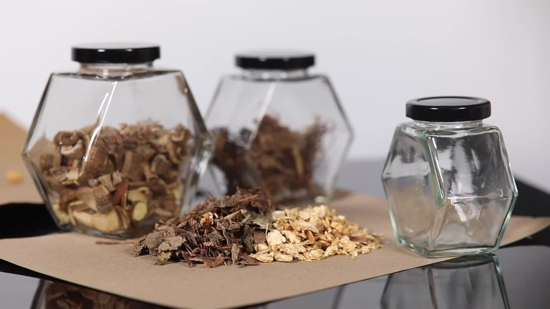Listo para enviar tapa de madera de grado alimenticio 430ml gran oferta tarro de miel de vidrio hexagonal