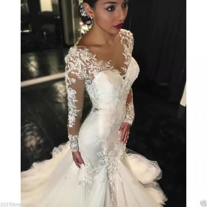 2019 Women Sexy Bride long sleeve lace bridal gown wedding dress