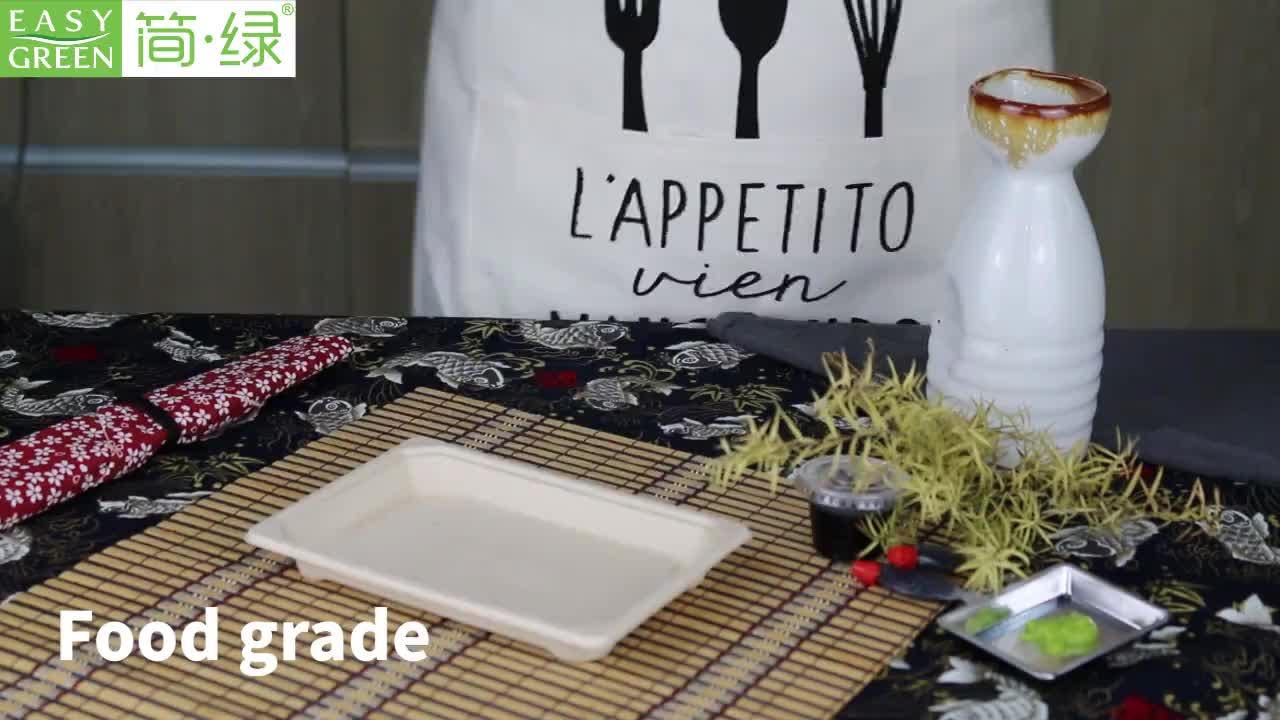 Sekali Pakai Food Grade Daur Ulang Kompos Ampas Tebu Pulp Sushi Tray