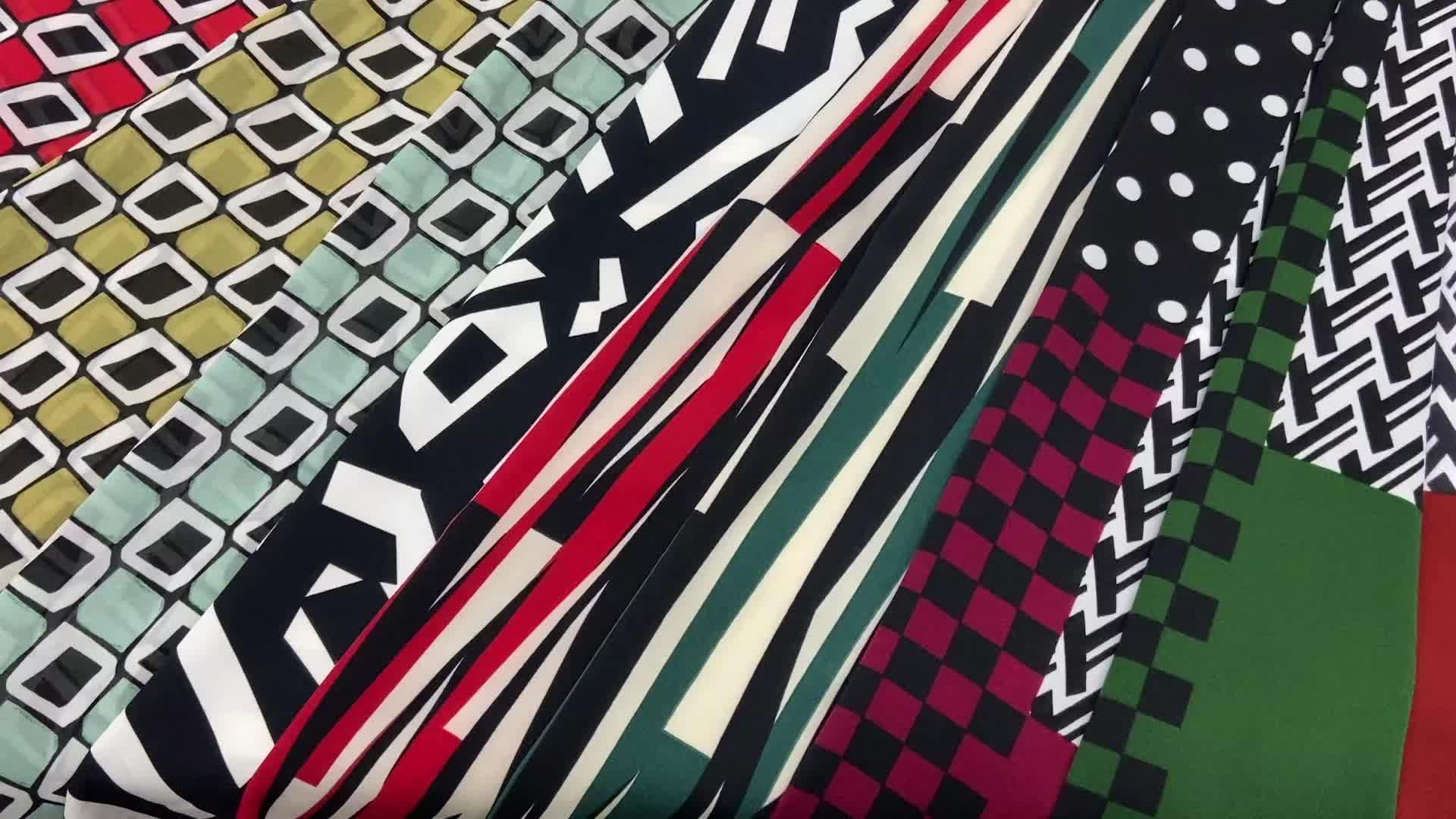 Shaoxing Textile couleur assortie en mousseline de soie tissée cercle géométrique impression tissu