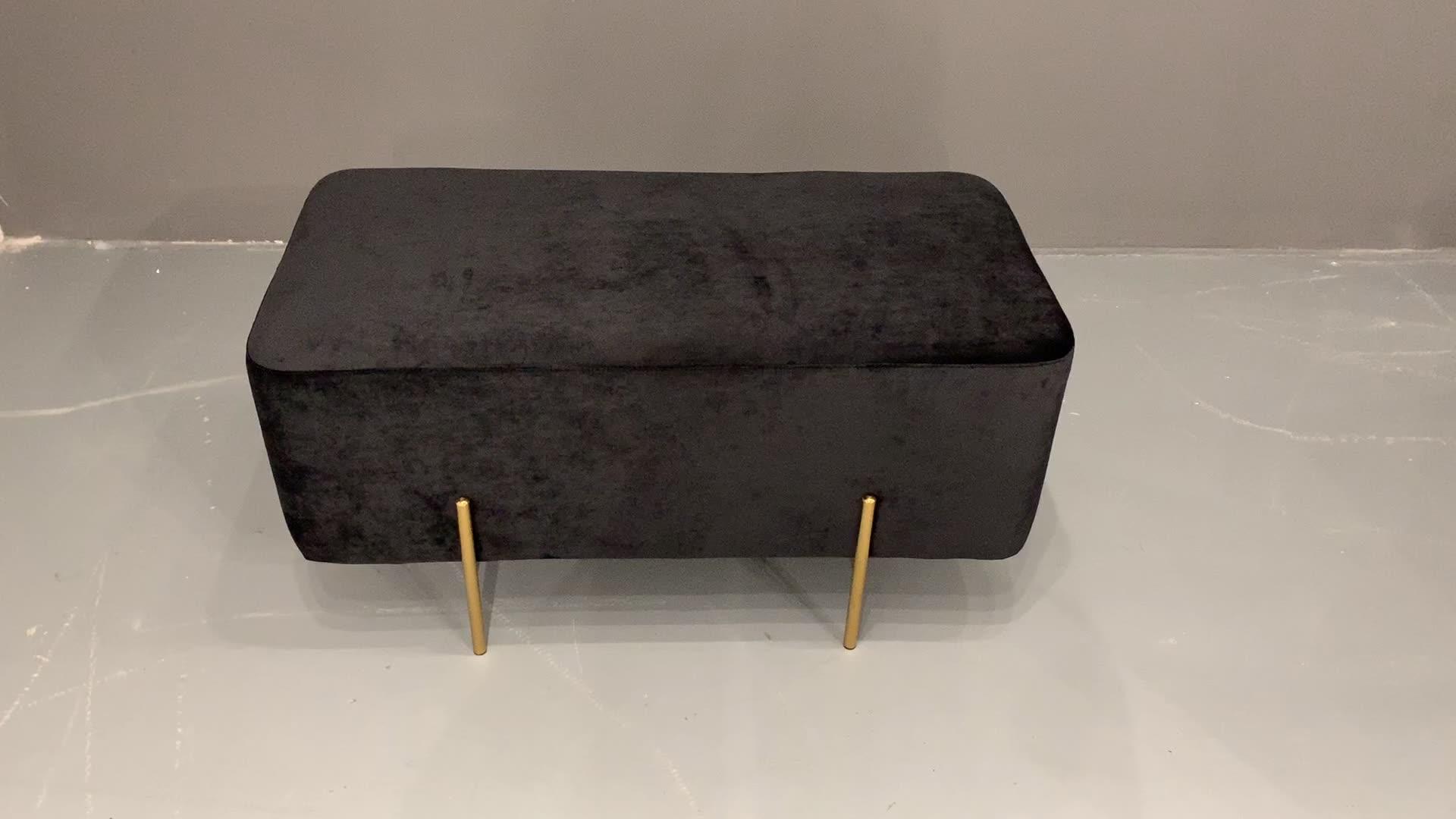 Fábrica al por mayor de muebles para el hogar de Banco de acero inoxidable tela de Taburete PUF Otomano