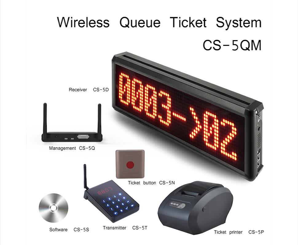 wireless paging electronic queue management system calling system wireless factory Outlet Video Demo Support customization