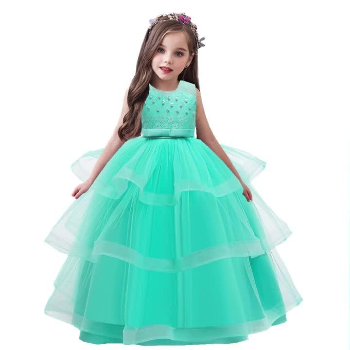 2021 トップ販売する子供誕生日服子供イブニングガウンロングフロック結婚式の日のドレス