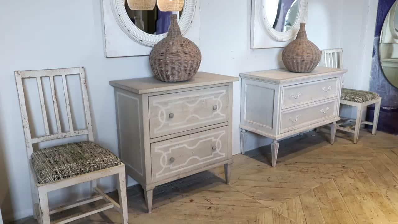 Escandinavo clásico francés país estilo reciclado vintage muebles de dormitorio de madera de pino antiguos de la reproducción del gabinete del lado del