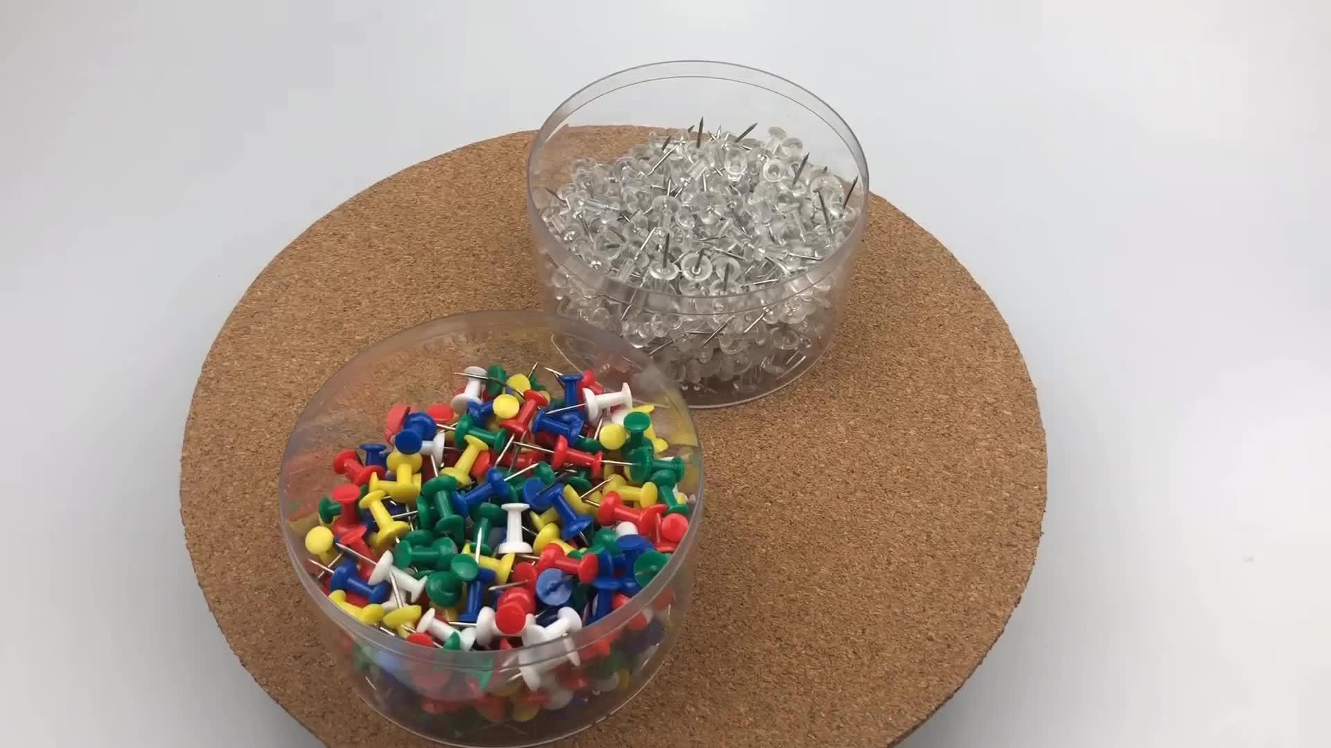 מגוון צבעים פלסטיק ראש פלדה נקודת 300 Count אמבטיה ארוז לדחוף פין סט