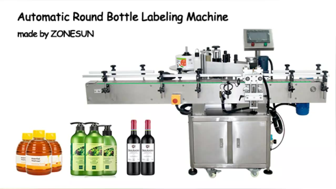 ZONESUN ZS-TB260 Vial Glass Jar Can Sticker Wine Water Bottle Sleeve Automatic Round Bottle Labeling Machine For Round Bottles