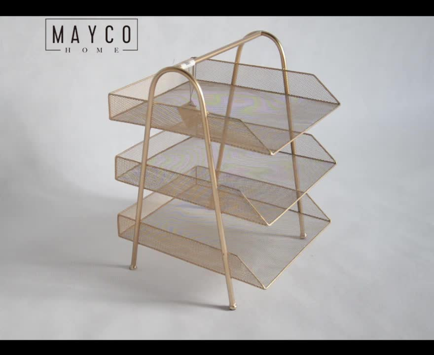 Mayco Set Wire Mesh Rose Gold Office Desk Document File Organizer 3 Tier Letter Tray