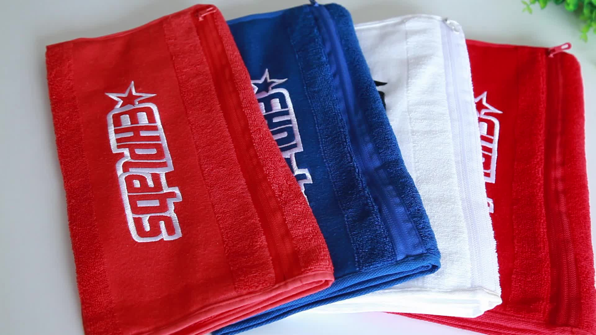 Gym Use 100% Cotton Custom 32s Magnet Sport towel with zipper pocket