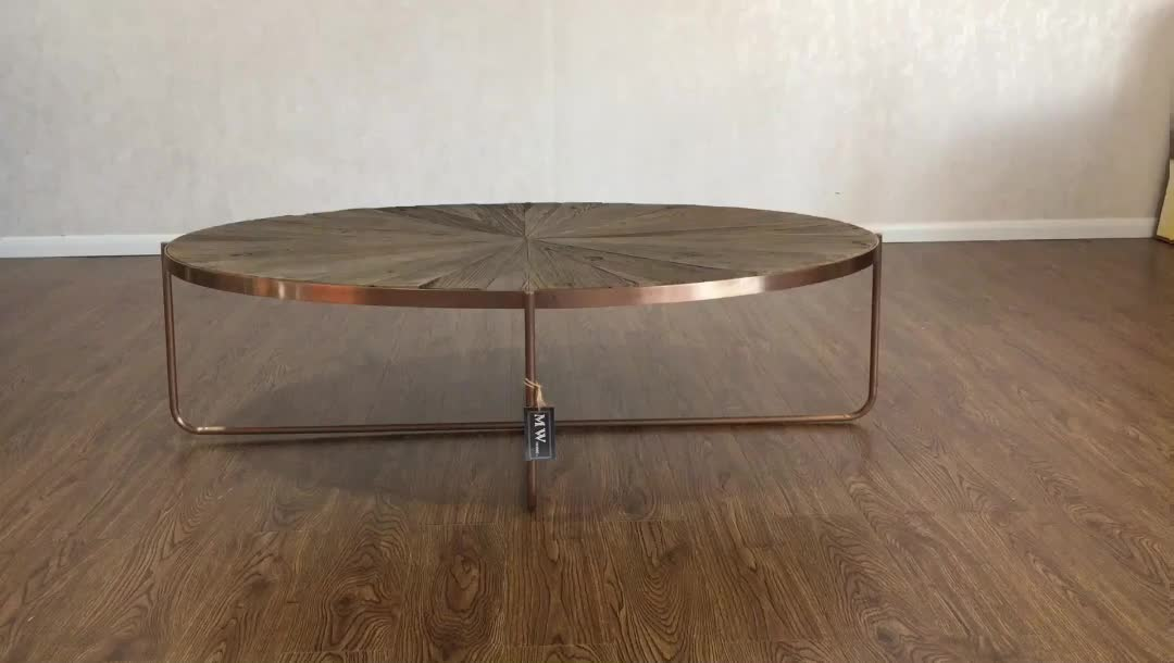 rustic wood oval center coffee table with rose gold metal legs view gold coffee table mrs. Black Bedroom Furniture Sets. Home Design Ideas