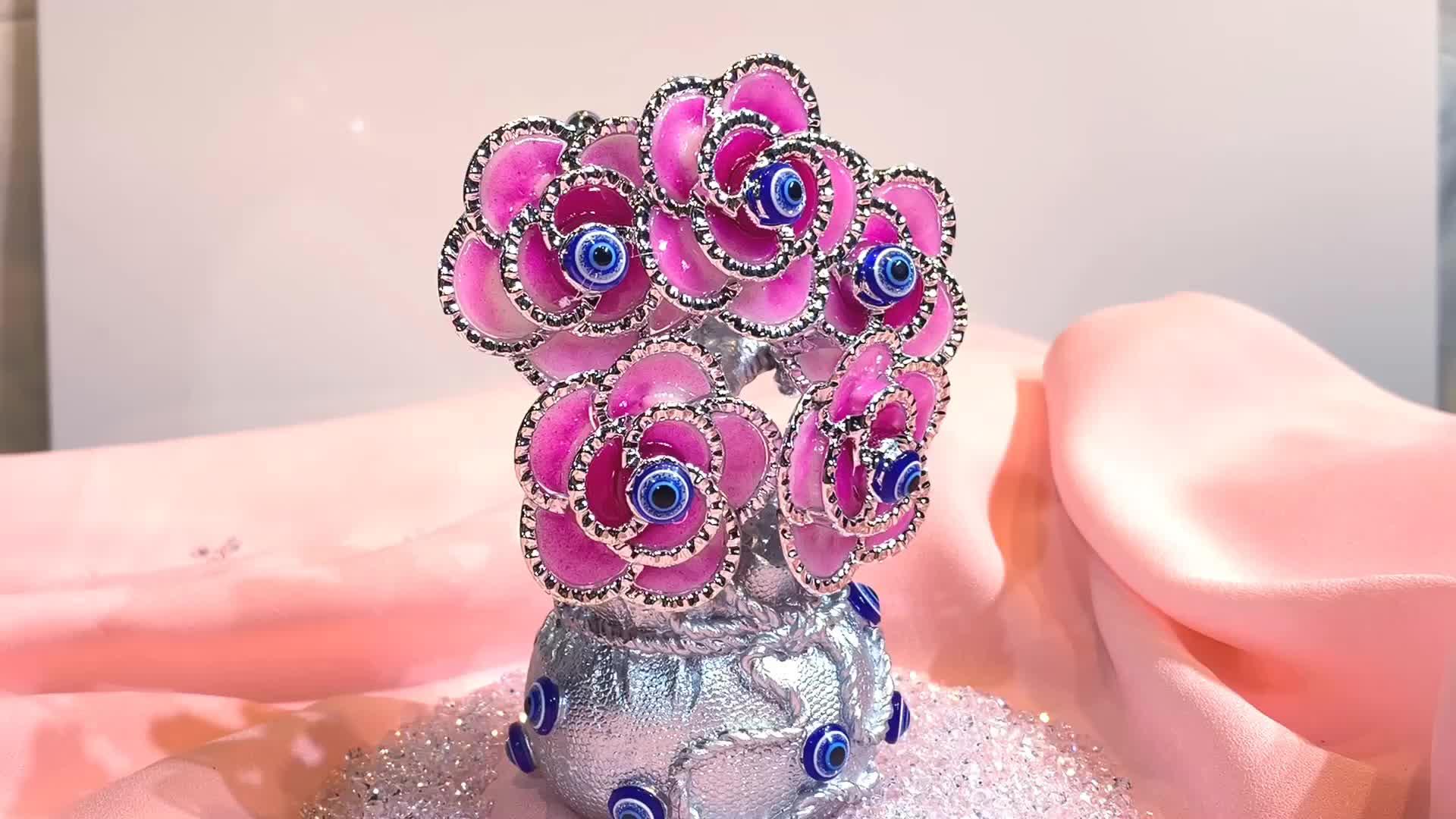 H & D китайский фэн шуй украшения синий злые глаза розовые цветы Декор гибкие ветви серебро бонсай дерево на сокровище горшок