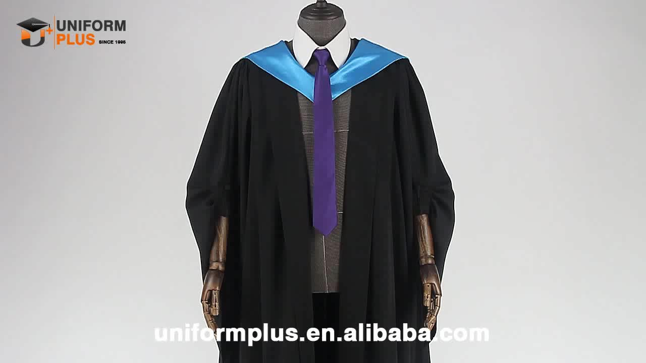 Wholesale customized UK university college doctoral phd bachelor black graduation caps and gowns