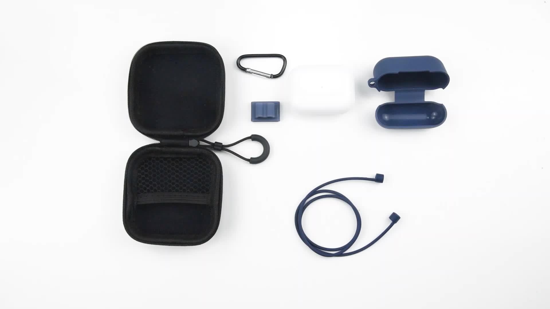 حقيبة سماعة الرأس ، مشبك ساعة ، حلقة تسلق ، حزام سماعة الرأس ، غطاء واقي من السيليكون airpods 5 في 1 لعلبة airpod pro 3