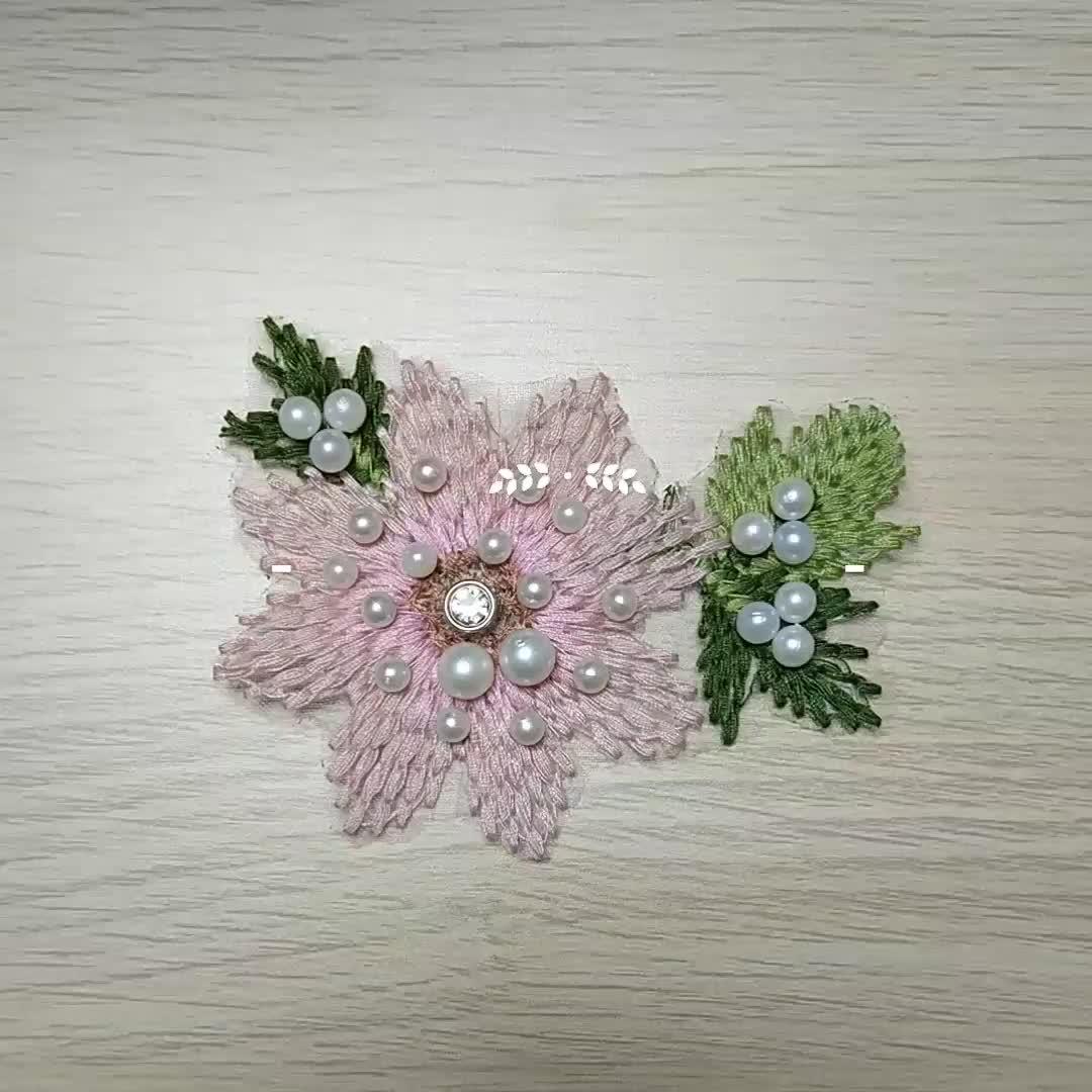 3d花編み刺繍パッチ真珠ビーズアップリケデザイン