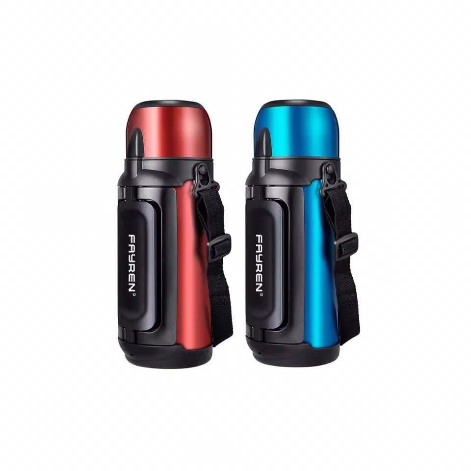 Convenience handle large travel insulated sport kettle double wall stainless steel thermos vacuum flask