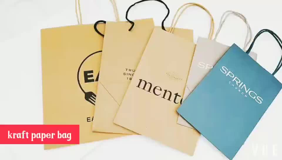 Wholesale custom brown kraft paper take away bag for fast food with your own logo