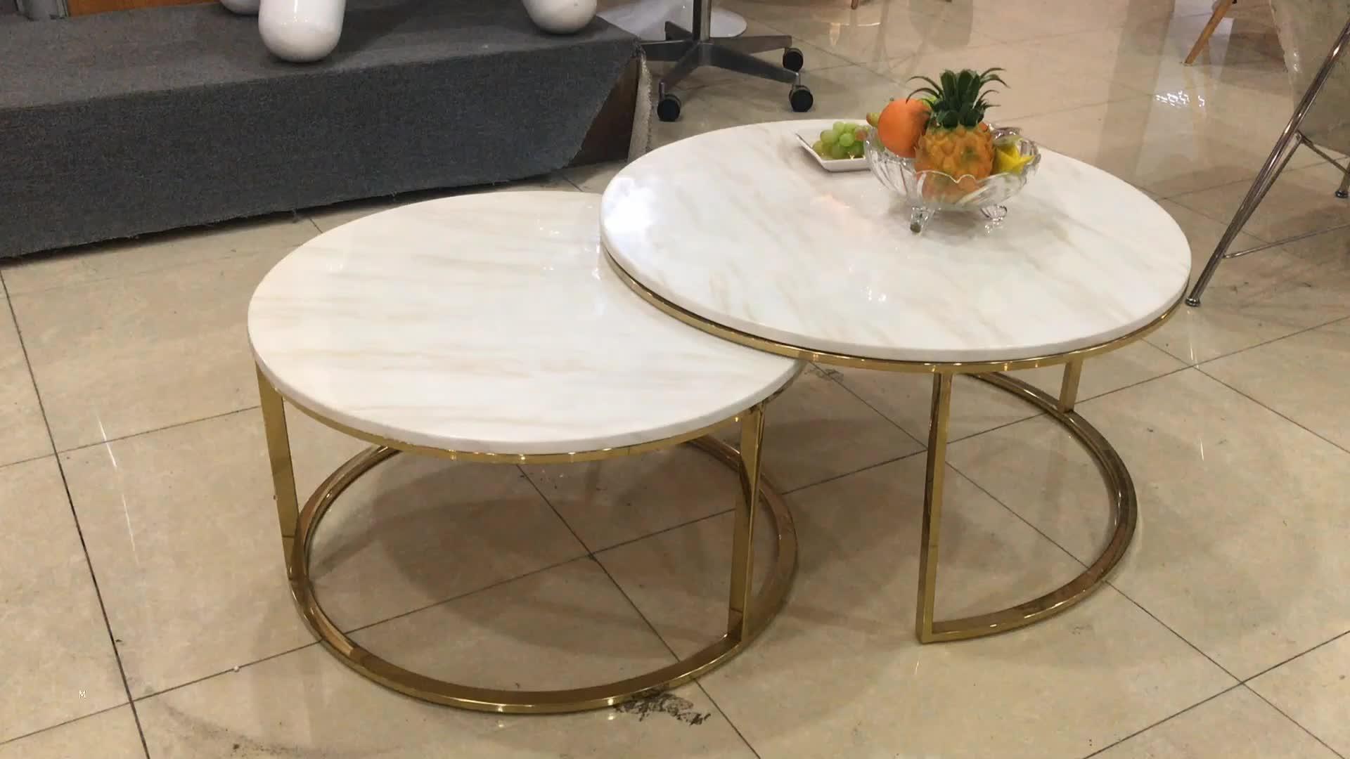 यूरोपीय शैली आधुनिक सफेद संगमरमर गोल्डन स्टेनलेस स्टील पैर दौर पक्ष कॉफी टेबल