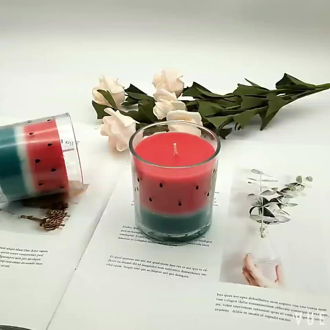 Оптовая продажа, подарок, декоративная стеклянная банка, Ароматизированная свеча в виде арбуза