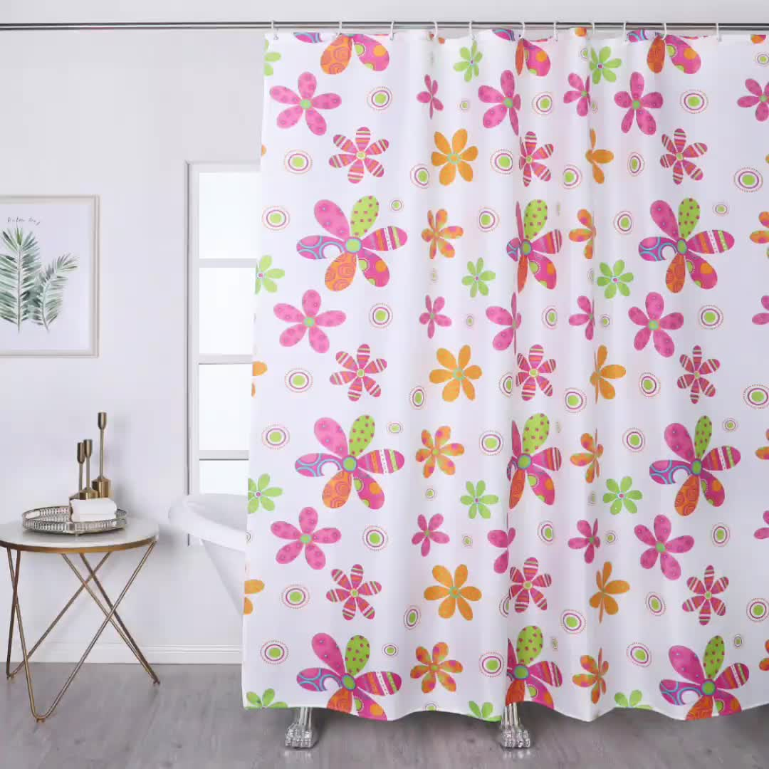 Hot Selling  Wholesale  waterproof polyester  flower printing african print shower curtain for bathroom