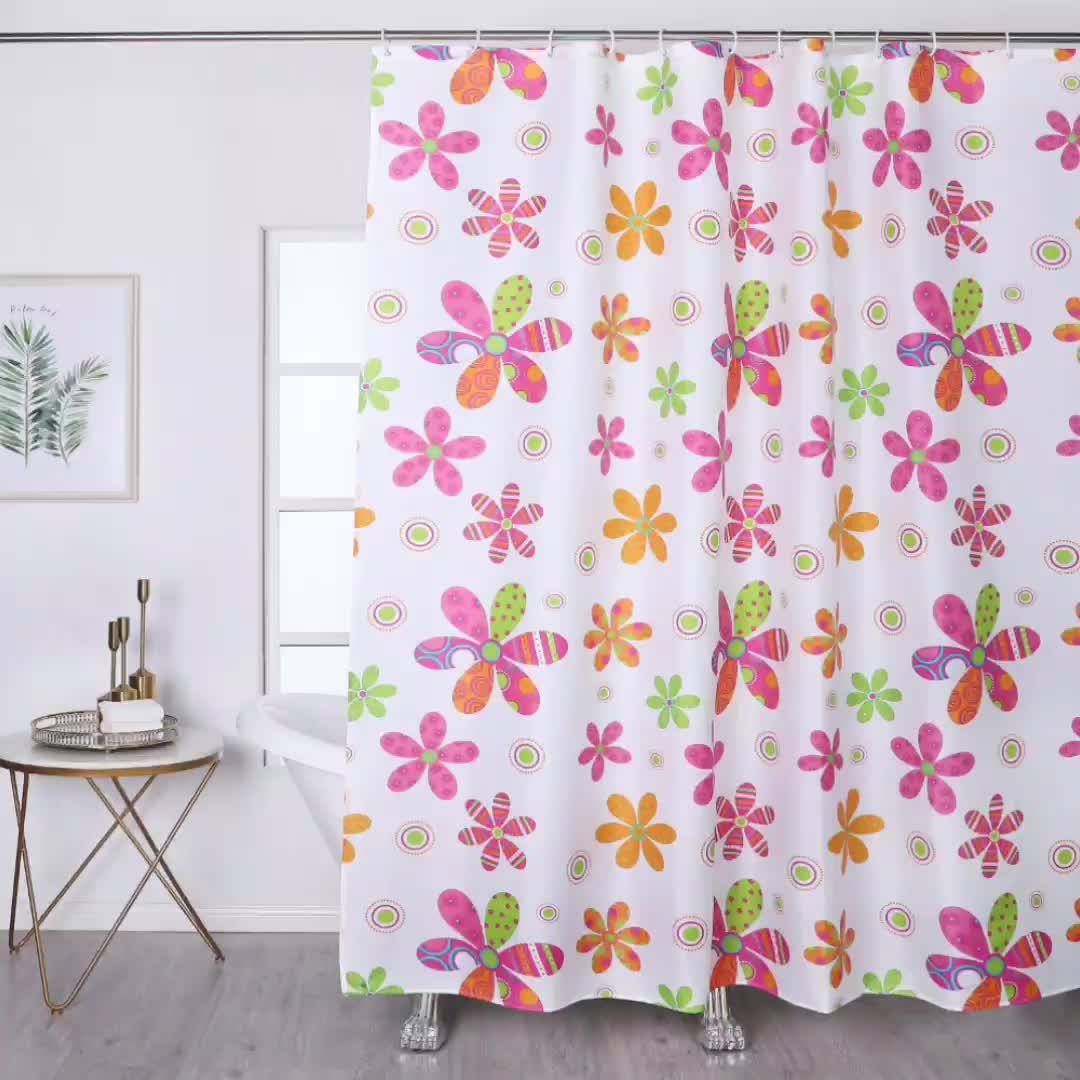 Venta caliente al por mayor de poliéster impermeable de la impresión de flor de cortina de ducha para Baño