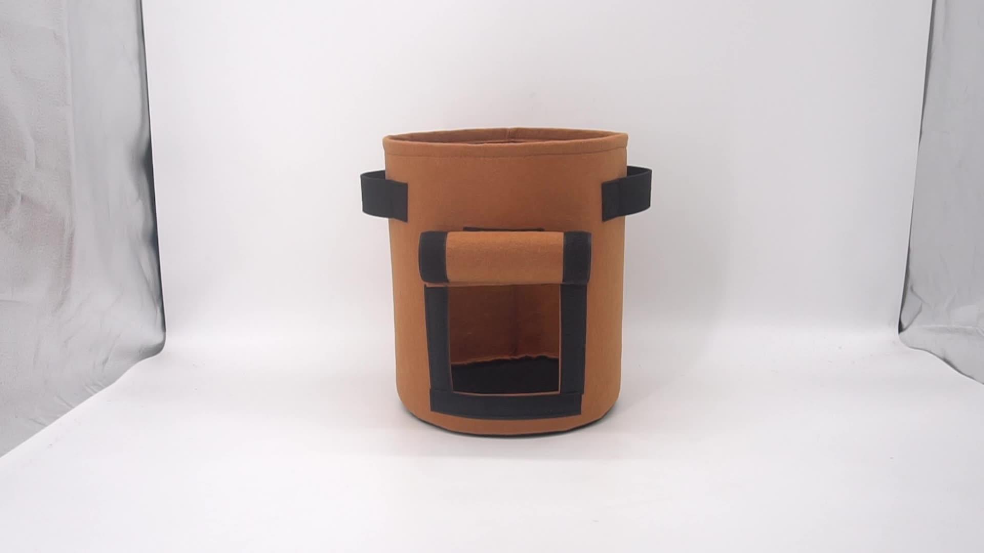 Handmade Eco-friendly Felt Fabric Plant Grow Bags Nursery Garden Grow Pots with Strap Handles