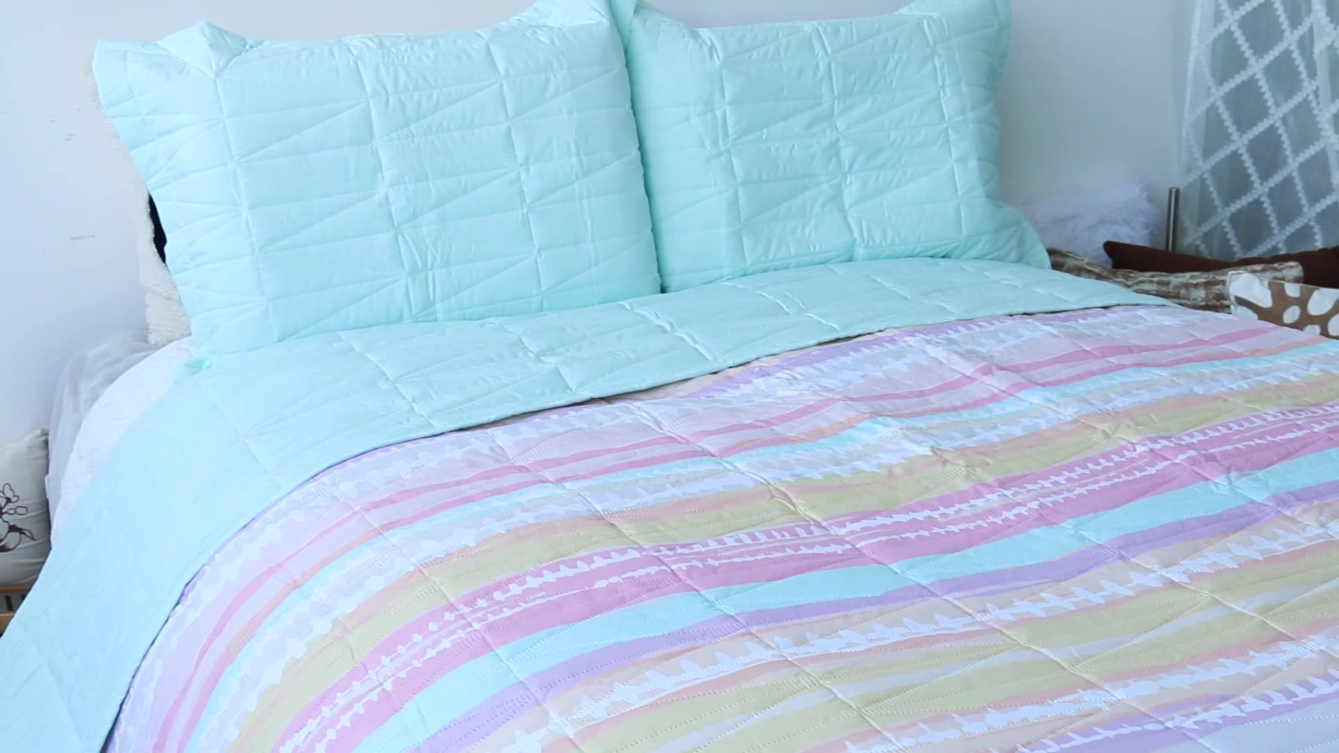 QUEEN SIZE LOLA MAIS NOVO COLORIDO IMPRIMIR DISPERSAR PINSOINC ULTRA MACIO COLCHA 3PC SET