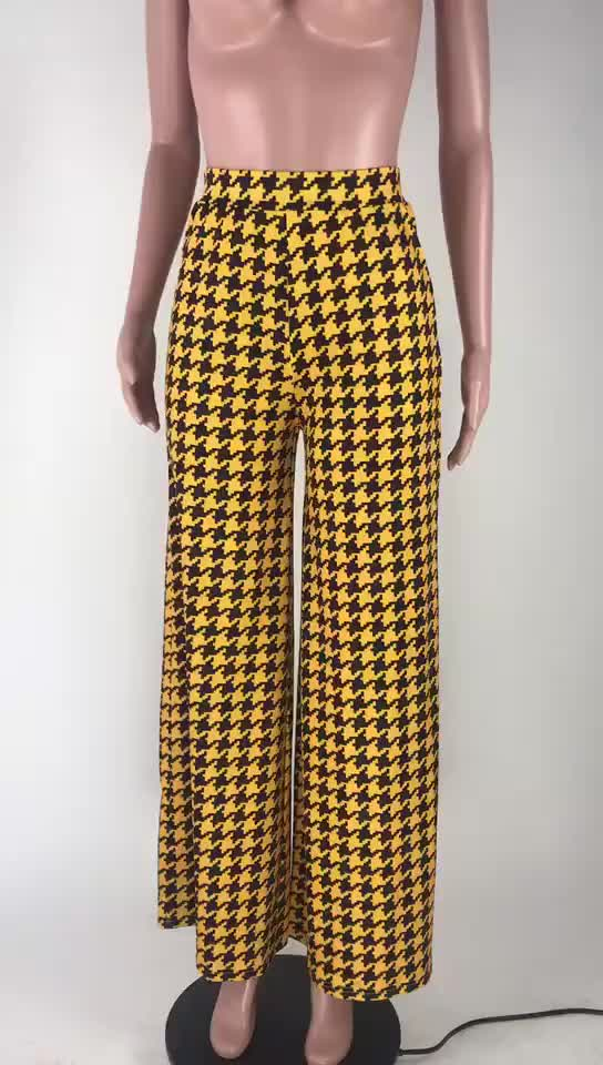 MT19-285 wholesale sexy checked casual mid waist ladies women clothing wide leg pants