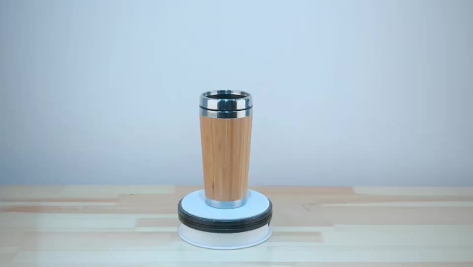 400ml/14oz bamboo thermal travel coffee mug stainless steel insulated tea cup with lid