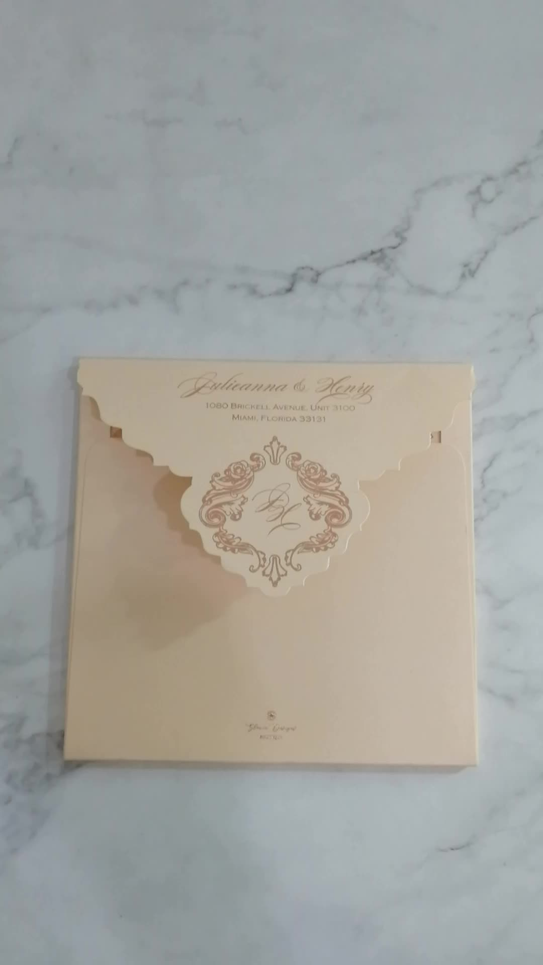 Luxurious golden embossed pattern hard cover wedding invitations for wedding