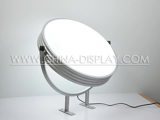 Advertisement display outdoor lighting signage round acrylic / ABS panel vacuum forming rotating lightbox