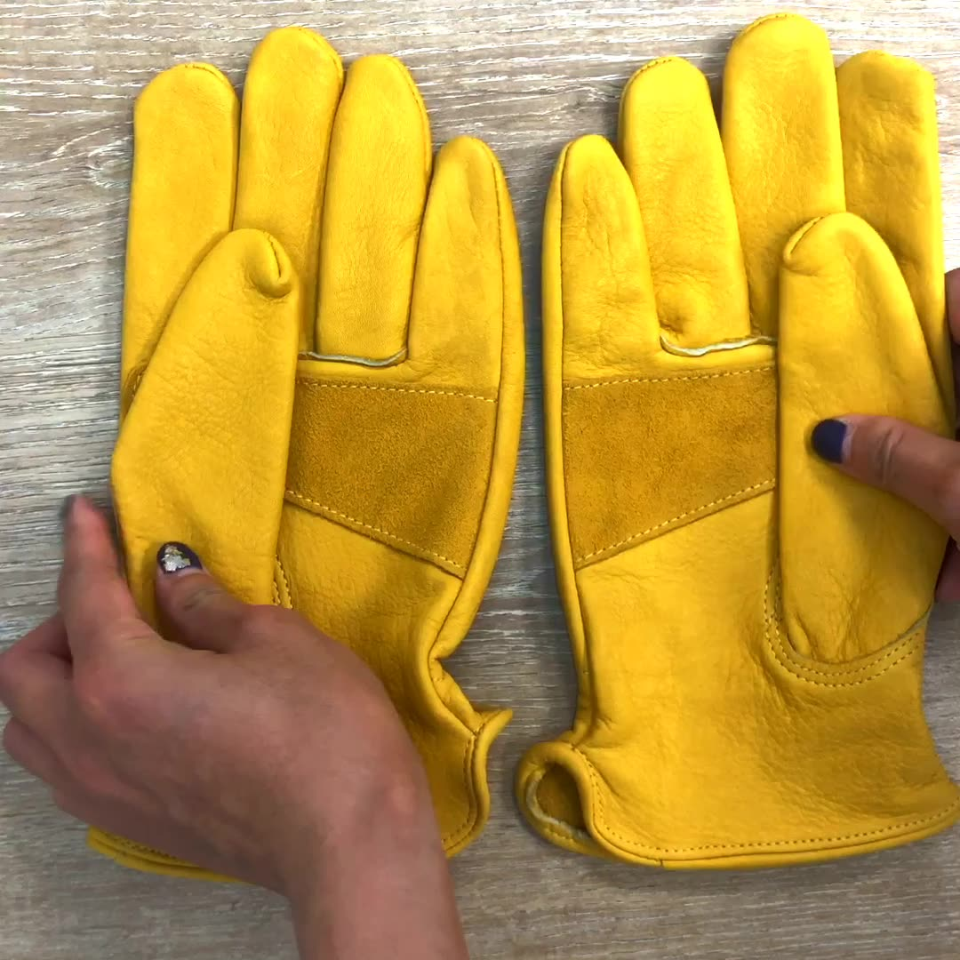 Wholesale custom high quality labor hand protection cowhide leather heavy duty industrial construction work safety gloves