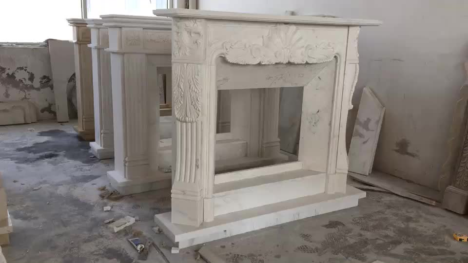 MFM111 White Marble Freestanding Hand Carved Fireplace