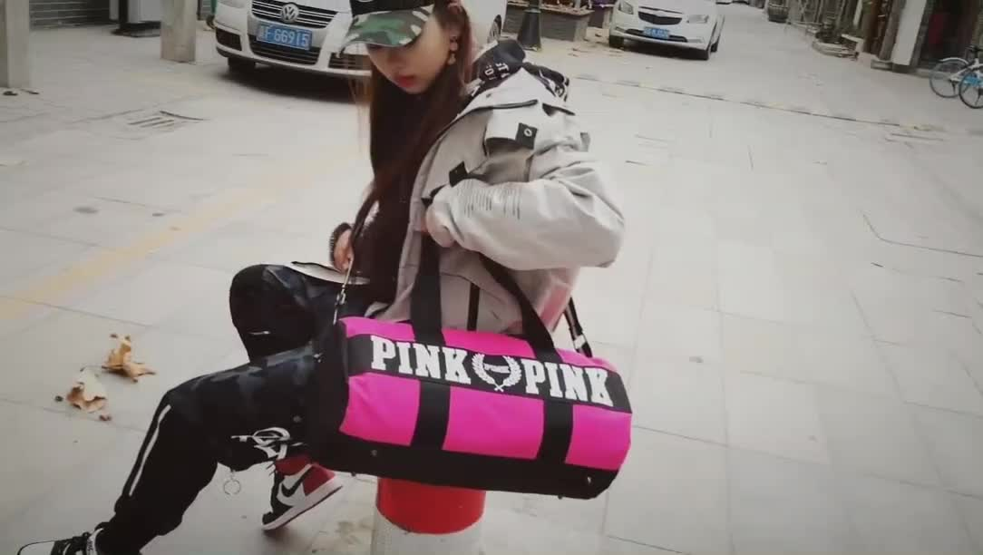 Hot sale high quality canvas travel bag for women fashion outdoor sports bag new design custom logo pink duffel bag