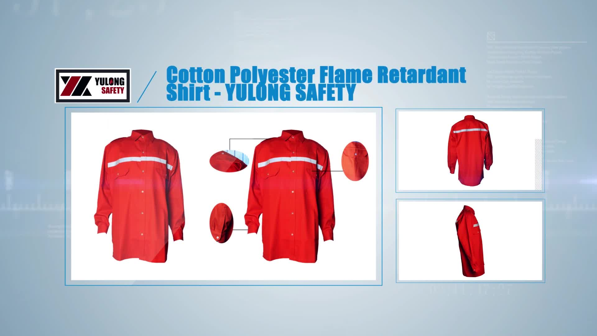 Construction Class 3 Fire Retardant Long Sleeve Red Hi Vis Safety Shirts