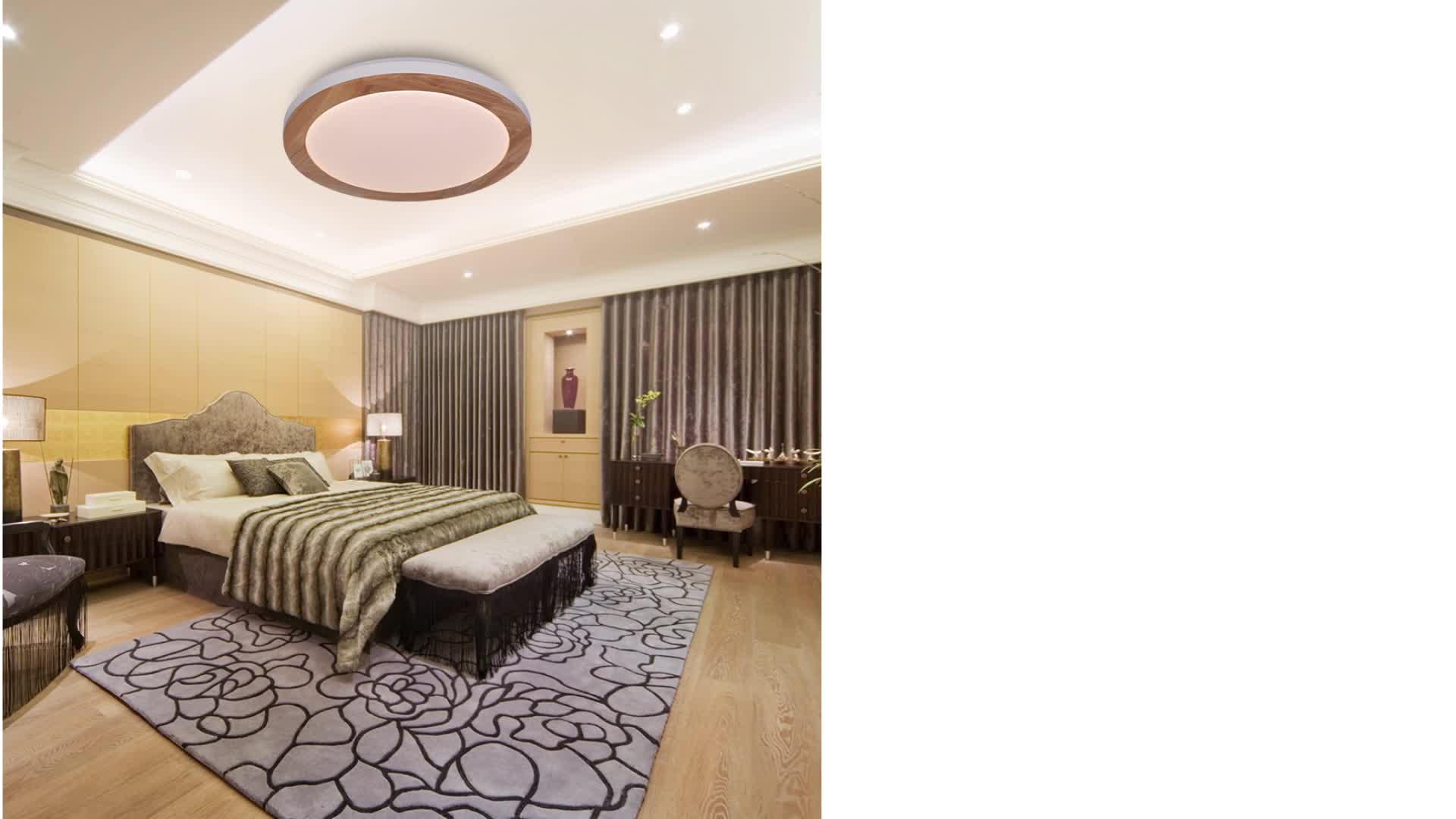 Wood Plafonnier Aux Del Classic Tuya APP Control LED Ceiling Lights Wireless Lamparas De Techo Customized RGB LED Ceiling Lamp
