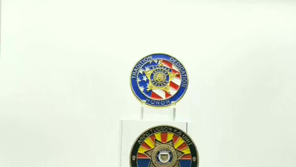 Zhongshan supplier high quality free sample color enamel double side souvenir challenge coin commemorative coin