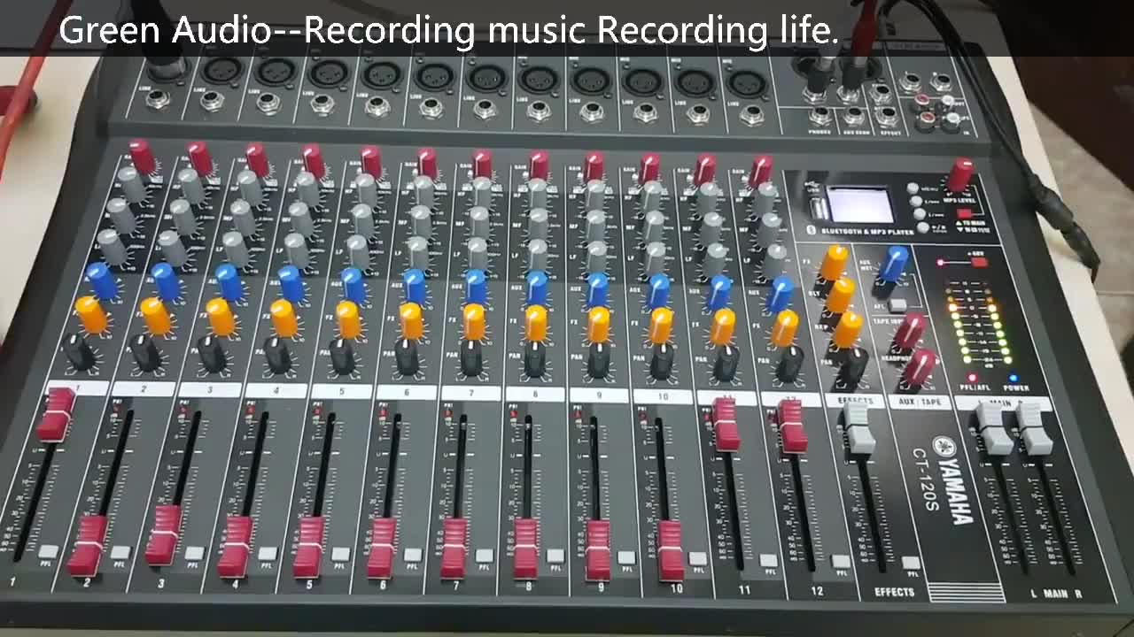 Mixing console with digital microphone 16 channels with USB Bluetooth 48 V Phantom Power Professional Karaoke DJ Audio Mixer