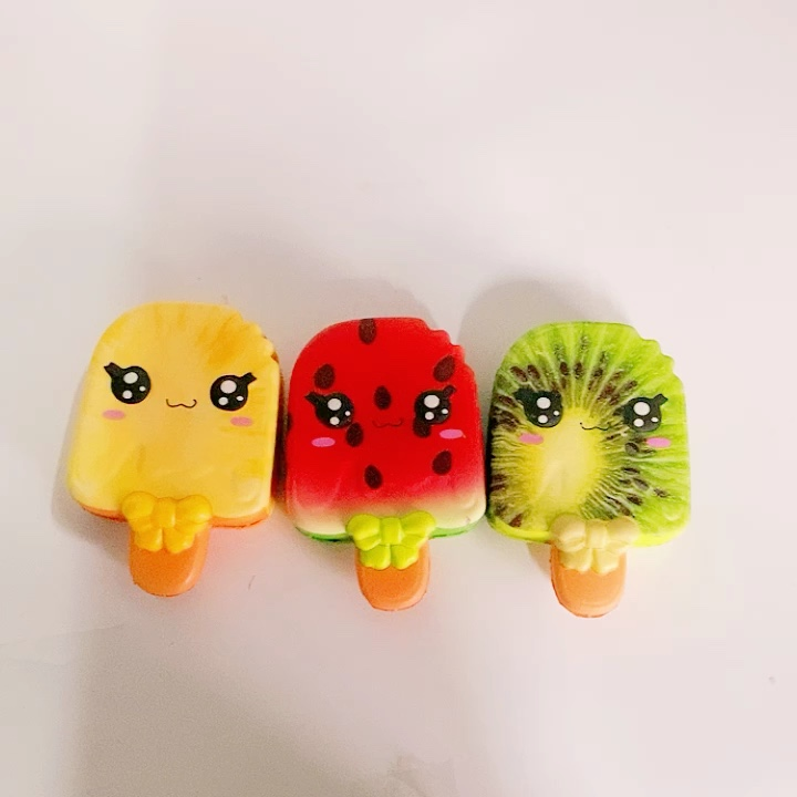 Sanqi 2019 new squishy fruit Popsicle slow rising Pu foam slime ice cream squeeze Relieve stress kids toy